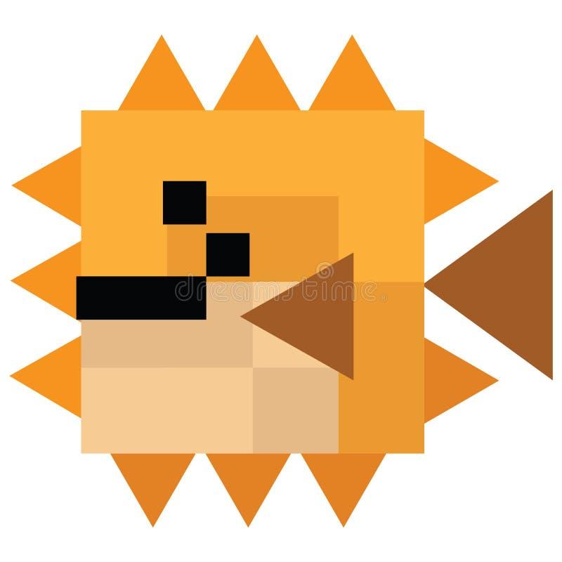 Милая иллюстрация 8 сдержанная pufferfish Ретро вектор рыб игры Clipart sealife пиксела иллюстрация штока