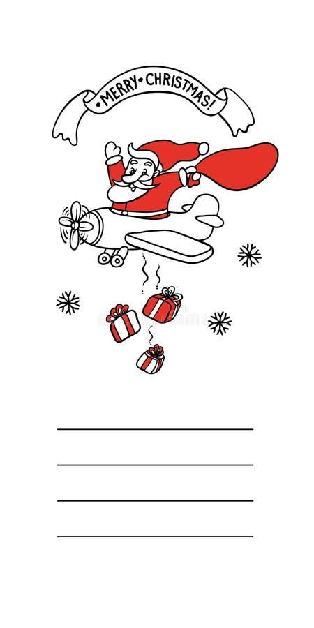 Милая иллюстрация смешной Санта Клаус эскиза вектора летает на самолет и бросает коробку с подарками Поздравительная открытка диз иллюстрация штока