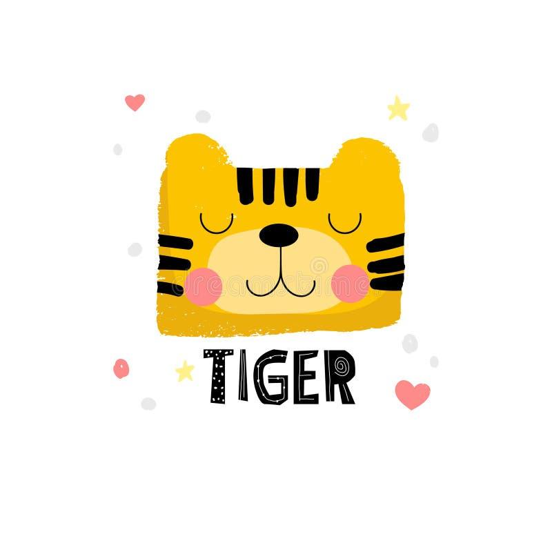 Милая иллюстрация стороны тигра иллюстрация штока
