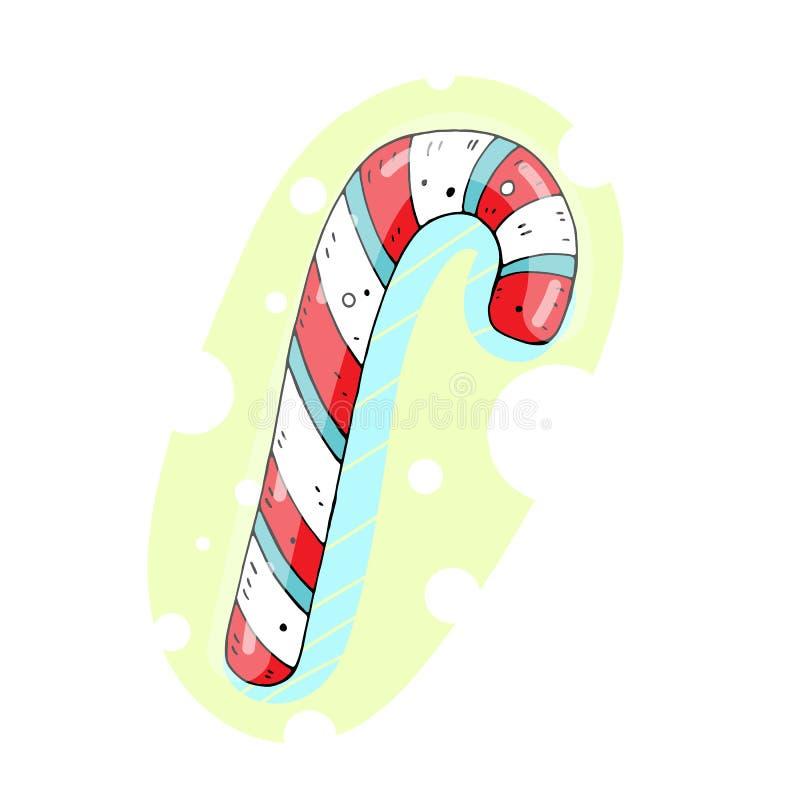 Милая иллюстрация цвета вектора сладкой тросточки конфеты с декоративным дизайном m иллюстрация вектора