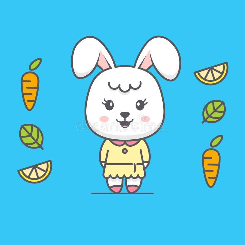 Милая иллюстрация шаржа кролика иллюстрация штока