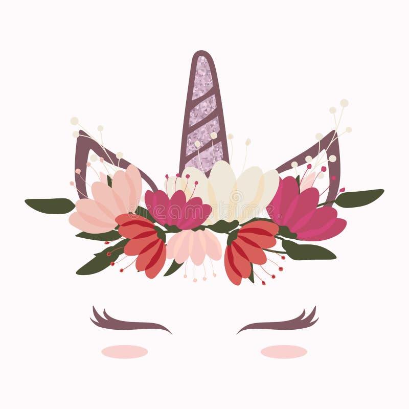 милая и красивая голова единорога с красивой кроной цветка иллюстрация штока