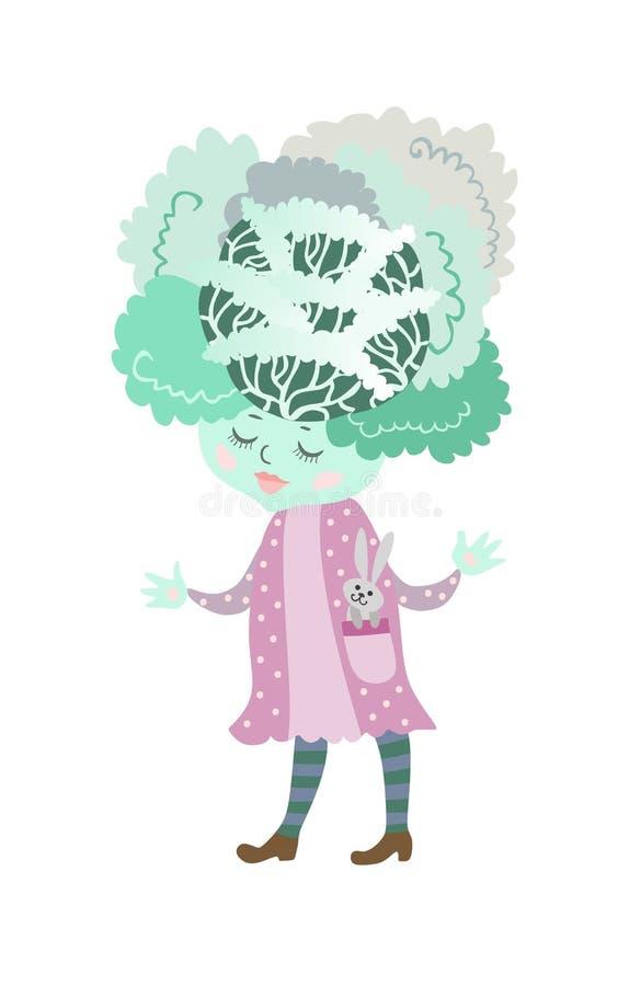 Милая капуста шаржа с зайчиком - игрушкой Очаровательный персонаж, иллюстрация для ` s детей записывает иллюстрация штока