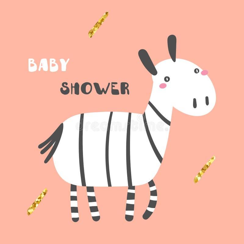 Милая карта детского душа, открытка, плакат, печать футболки с черно-белой зеброй с золотыми элементами иллюстрация вектора