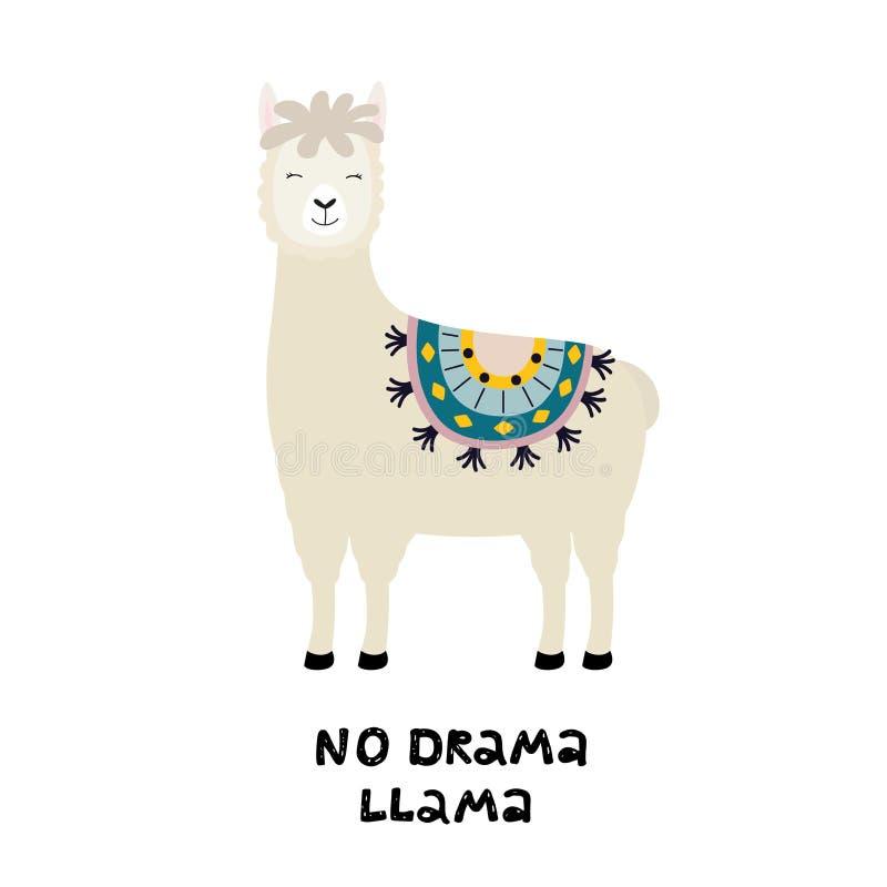 Милая карта ламы без цитаты драмы мотивационной Альпака мультфильма Иллюстрация вектора с ламой для плаката, карты бесплатная иллюстрация