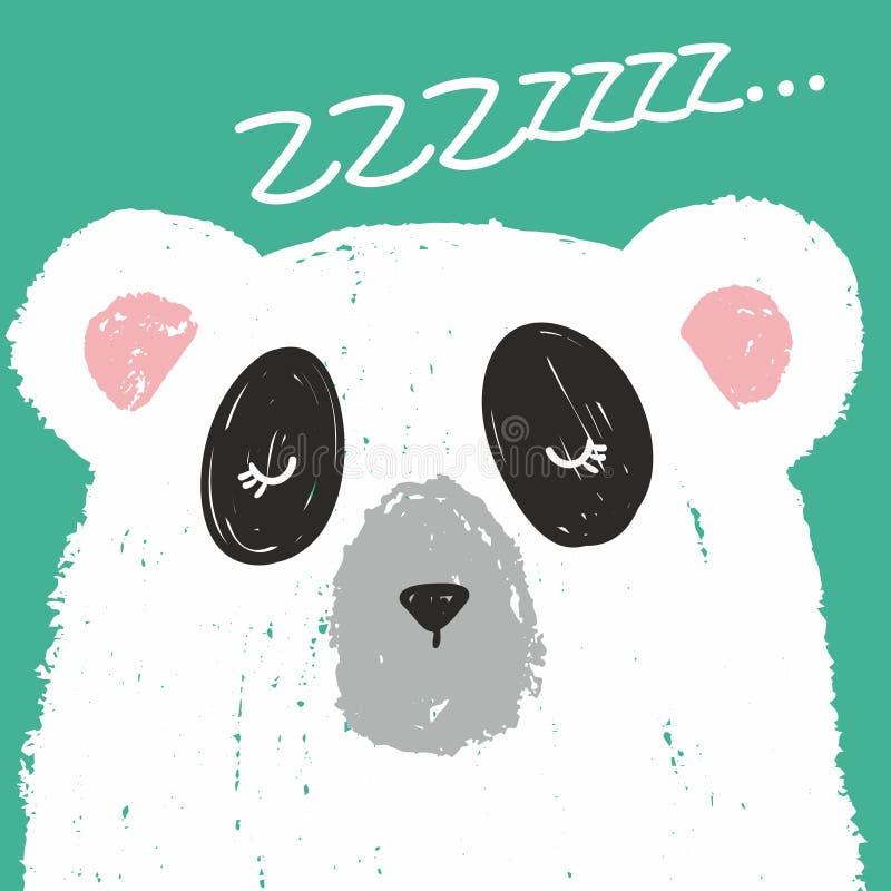 Милая карта с прекрасным белым медведем нарисованным с покрашенными crayons изолированными на предпосылке бирюзы Zzzz! бесплатная иллюстрация