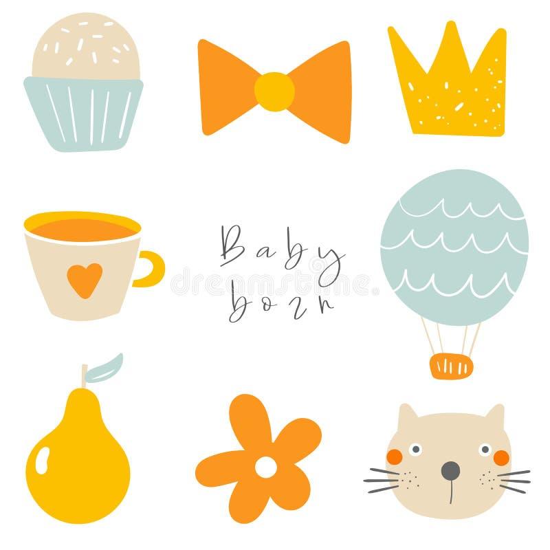 Милая карта doodle, открытка, бирка, плакат со смычком, котом, пирожным, кроной, чашкой чаю, воздушным шаром, грушей, цветком, ко иллюстрация штока