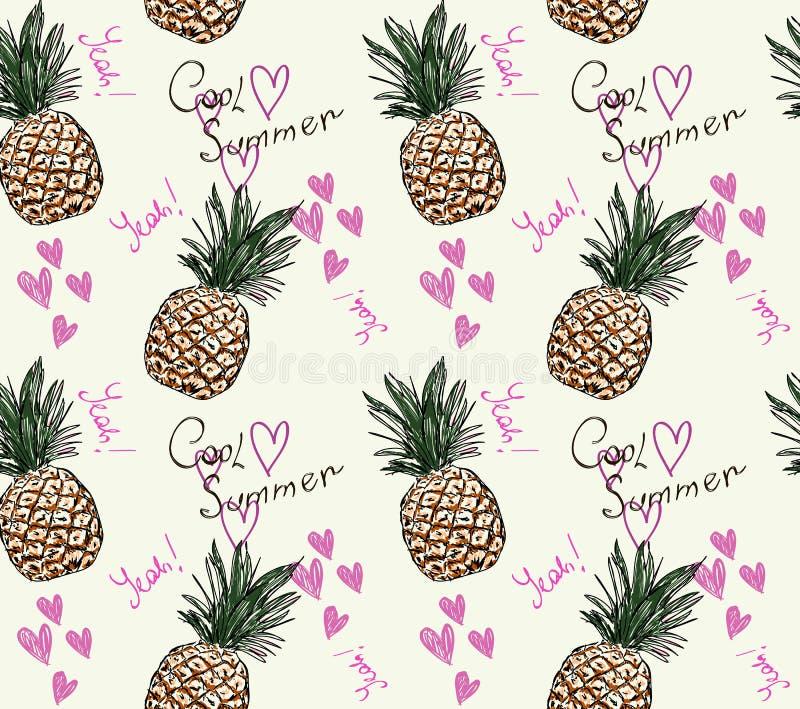 Милая картина ананаса с летом и сердцем текста холодными иллюстрация штока
