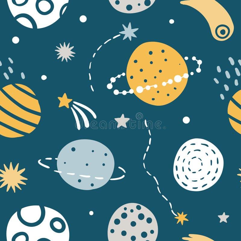 Милая картина вектора космоса детей безшовная бесплатная иллюстрация