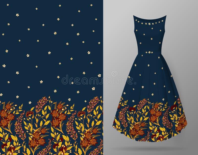 Милая картина в малых цветках и травах вертикаль предпосылки безшовная Пример картины насмешки платья вверх бесплатная иллюстрация
