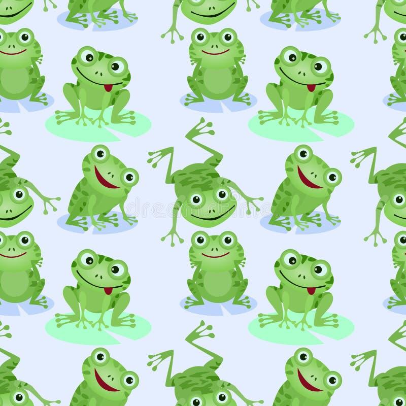 Милая картина зеленых лягушек безшовная иллюстрация вектора