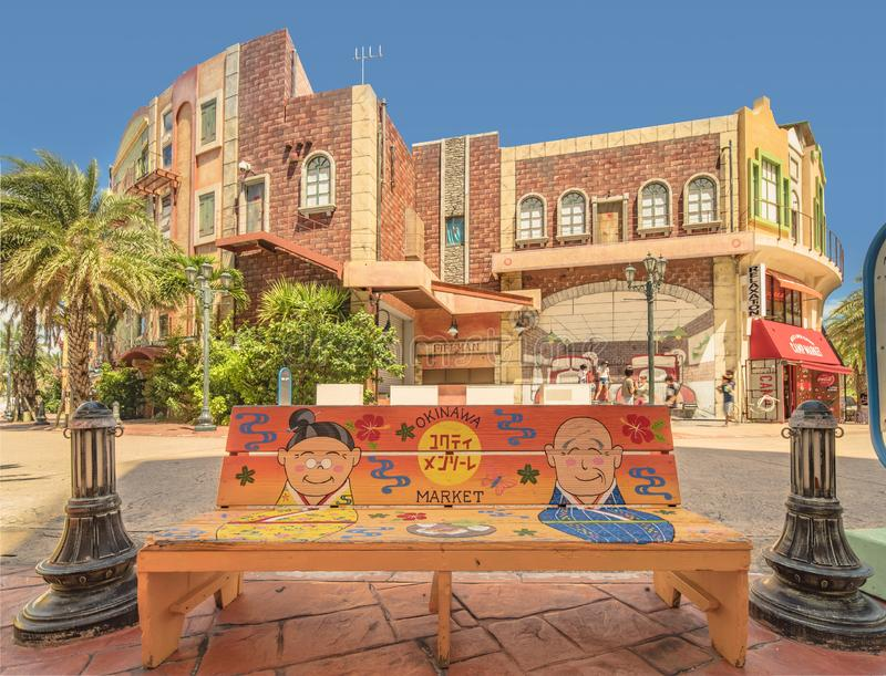 Милая картина искусства улицы на стенде в торговом центре магазина рынка Окинава американской деревни города Chatan где искажение стоковые изображения rf