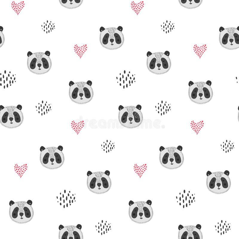 Милая картина мультфильма с головами и сердцами панды бесплатная иллюстрация