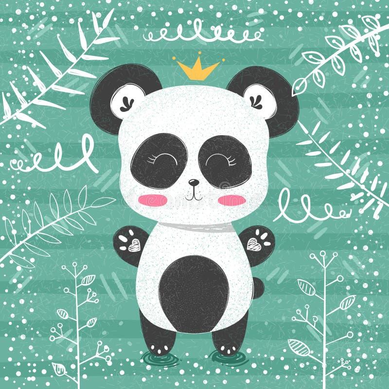Милая картина панды - маленькая принцесса бесплатная иллюстрация