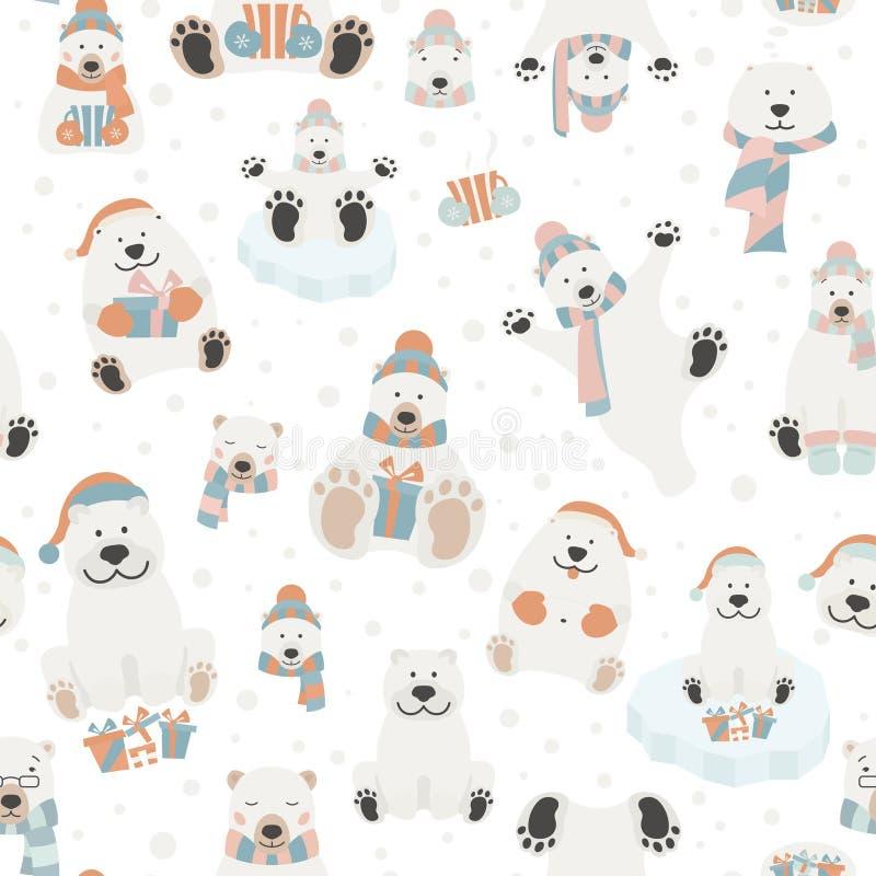 Милая картина полярного медведя безшовная Элементы на праздник рождества иллюстрация вектора