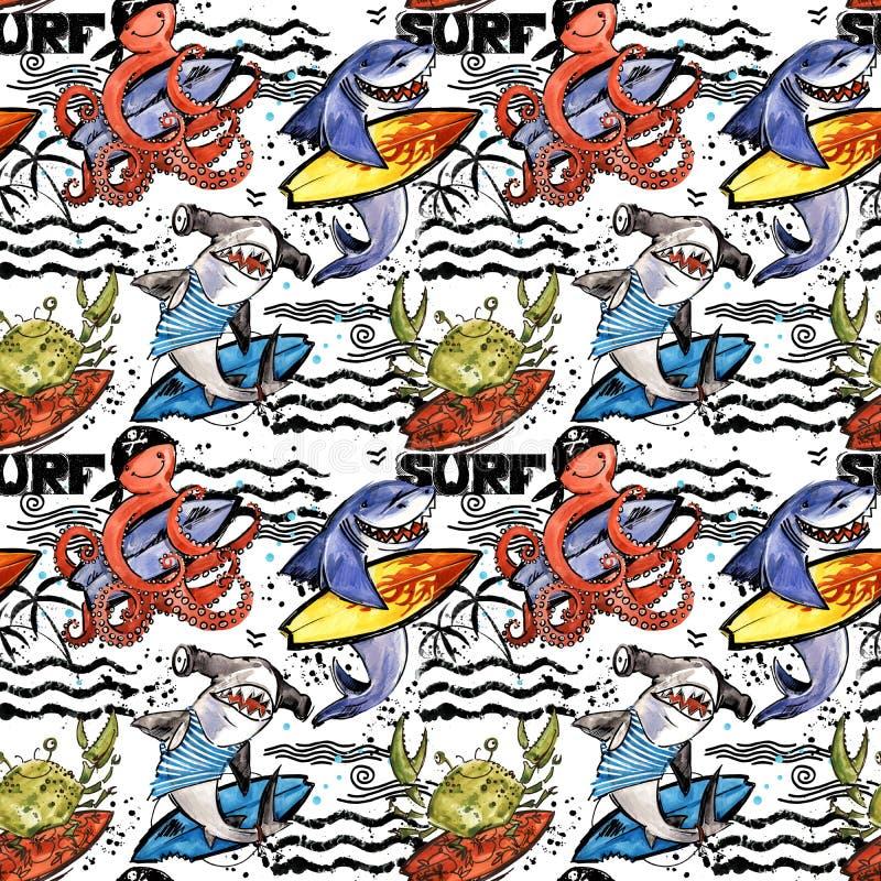 милая картина рыб моря шаржа безшовная винтажная предпосылка прибоя иллюстрация вектора