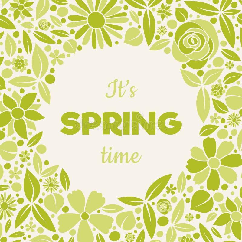 Милая карточка весны с цветками нарисованными рукой и приветствием стоковая фотография