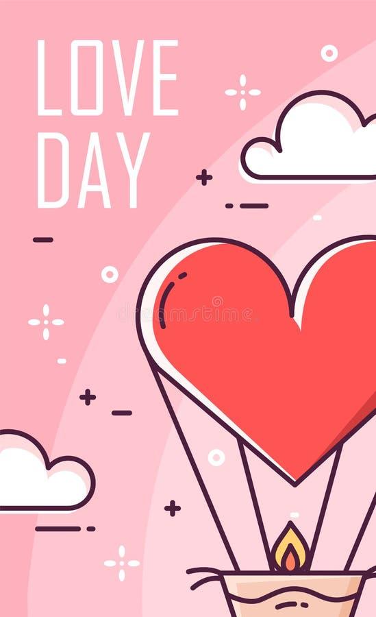 Милая карточка дня ` s валентинки с воздушным шаром и облаками на розовой предпосылке Тонкая линия плоский дизайн вектор иллюстрация штока