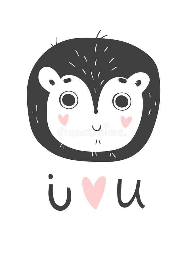 Милая карточка с одичалым львом Monochrome поздравительная открытка бесплатная иллюстрация