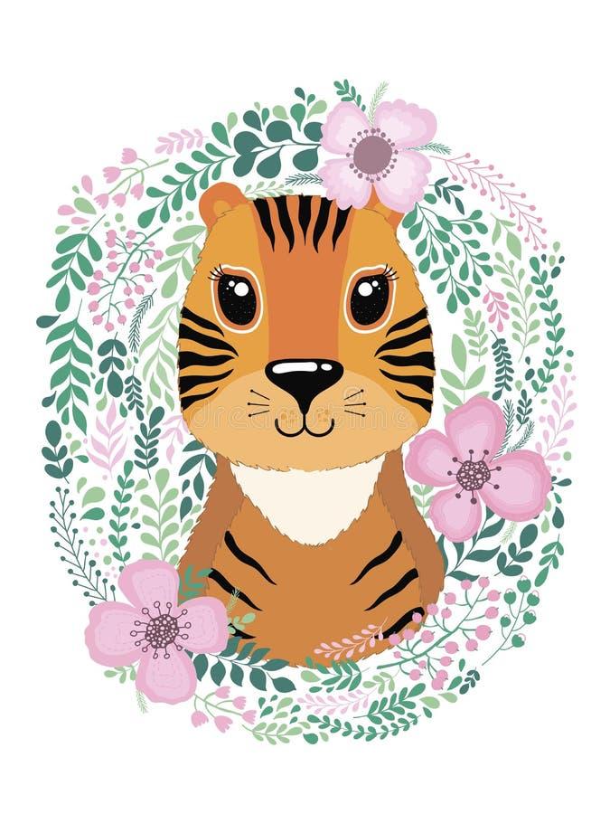 Милая карточка с тигром нарисованным рукой животным Для печатать, печати, плаката, афиши, открытки и больше бесплатная иллюстрация