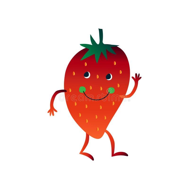 Милая клубника развевая своя рука, жизнерадостный смешной персонаж из мультфильма ягоды со смешной иллюстрацией вектора стороны бесплатная иллюстрация