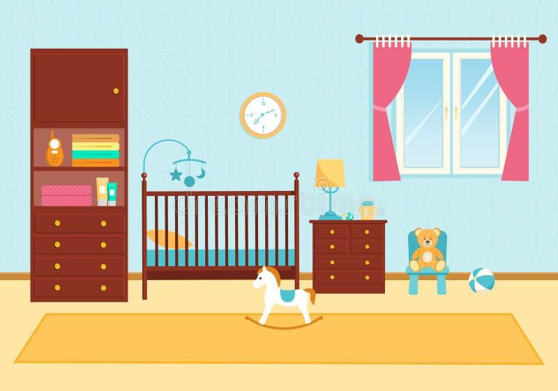 Милая комната детей с мебелью Комната младенца иллюстрация вектора