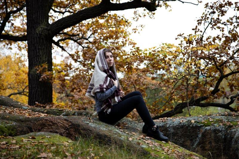 Милая, красивая, скромная девушка вероисповедания с шарфом или шарф на ее голове сидят в осени в парке на камне Мох и стоковая фотография