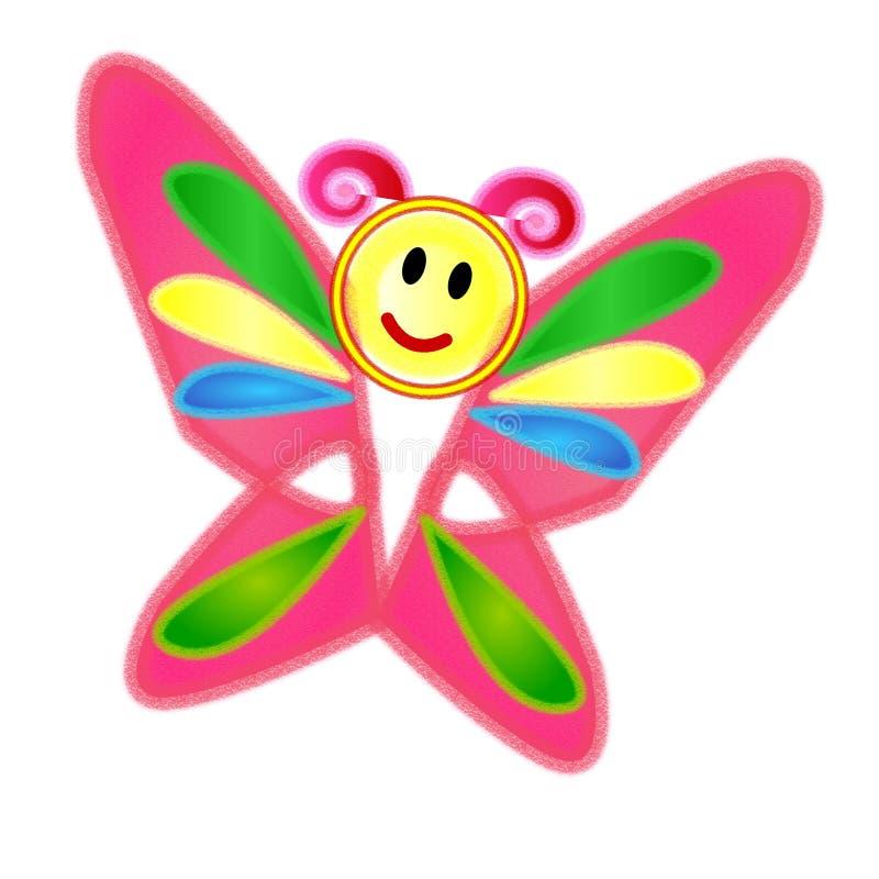 Милая красочная бабочка crayon иллюстрация штока