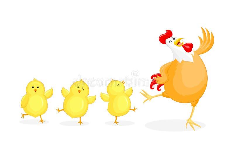 Милая курица мультфильма и маленькие цыпленоки иллюстрация штока
