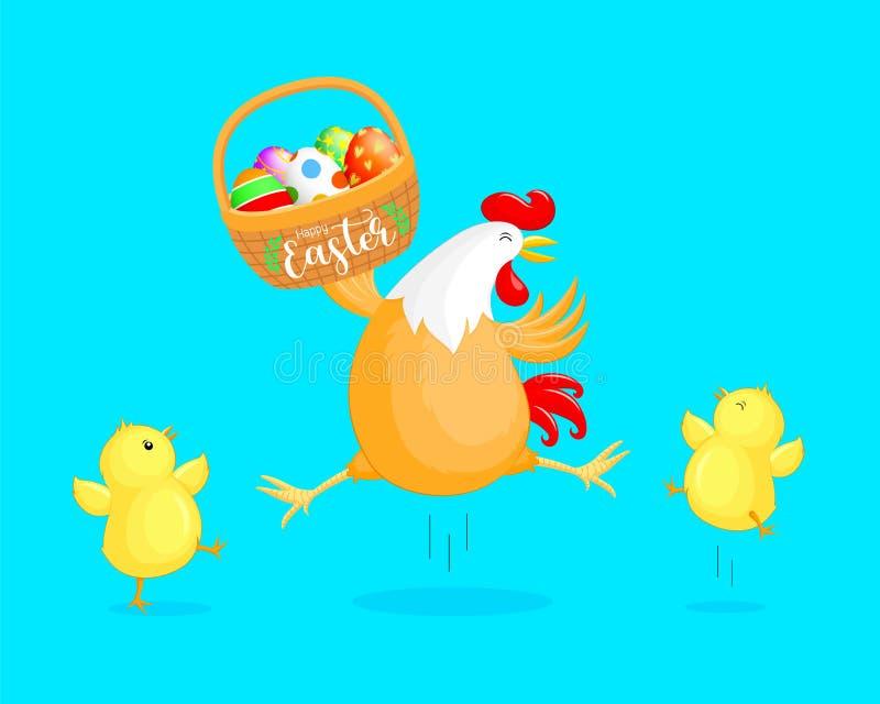 Милая курица мультфильма с маленькой корзиной цыпленоков и пасхального яйца иллюстрация вектора