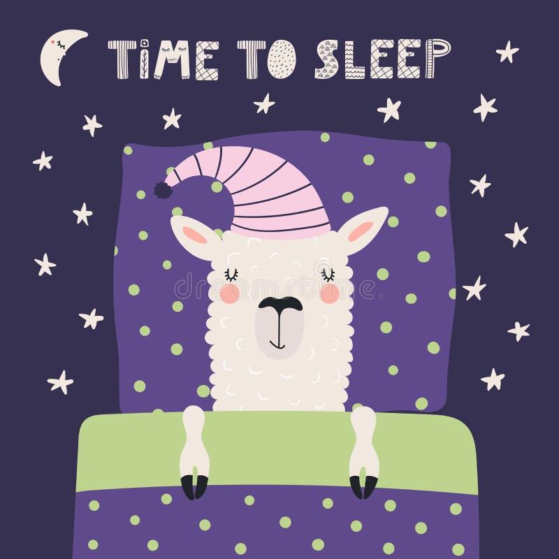 Милая лама спать бесплатная иллюстрация