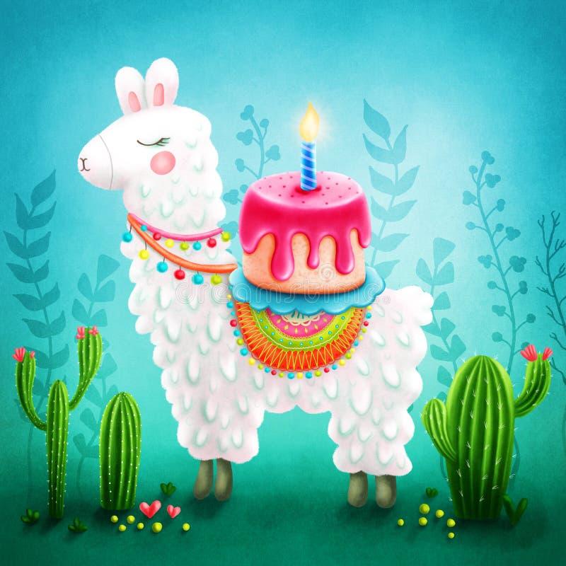 Милая лама иллюстрация штока