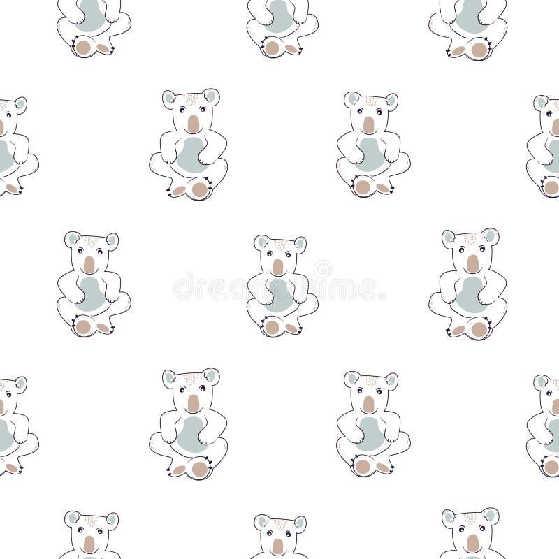 Милая линия безшовный вектор коалы картины для ткани печати младенца иллюстрация вектора