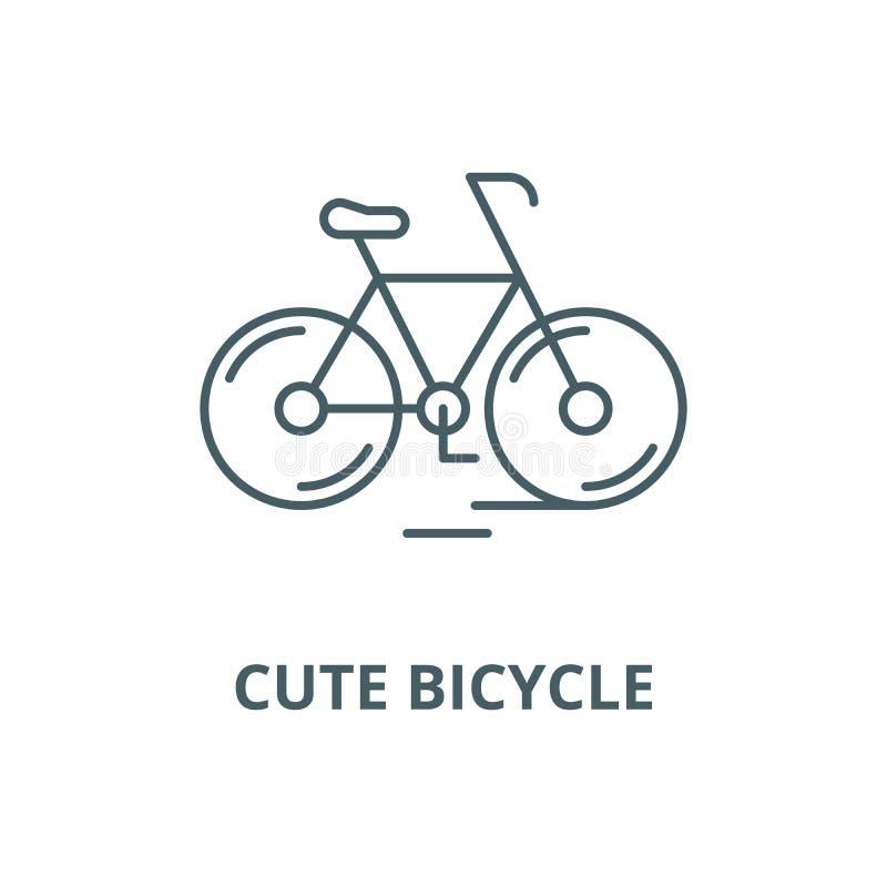 Милая линия значок велосипеда, вектор Милый знак плана велосипеда, сим иллюстрация штока