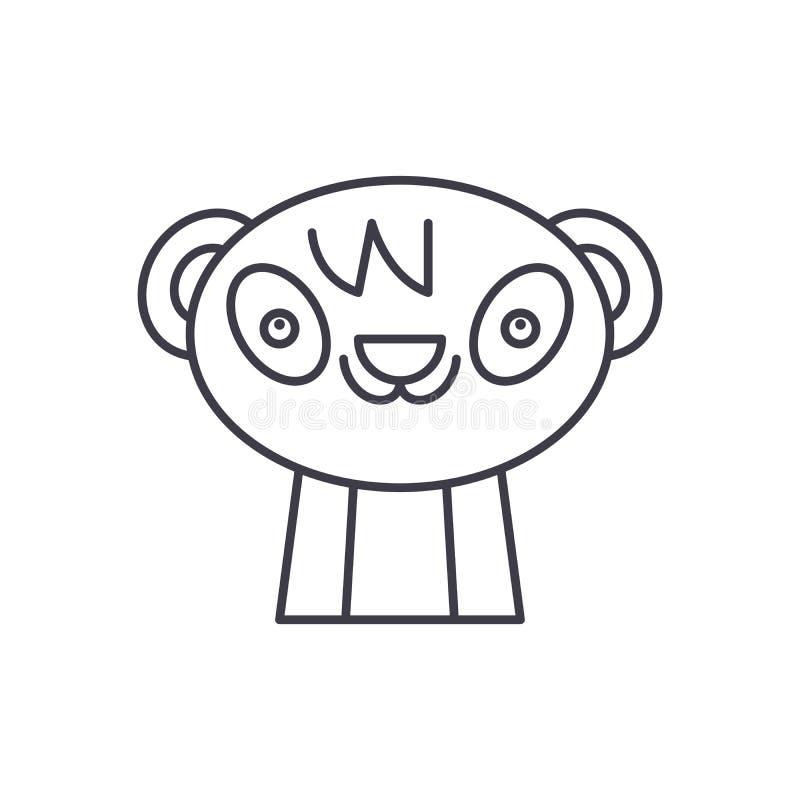 Милая линия концепция панды значка Иллюстрация милого вектора панды линейная, символ, знак иллюстрация штока