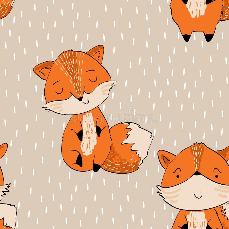 Милая лисица шаржа иллюстрация вектора
