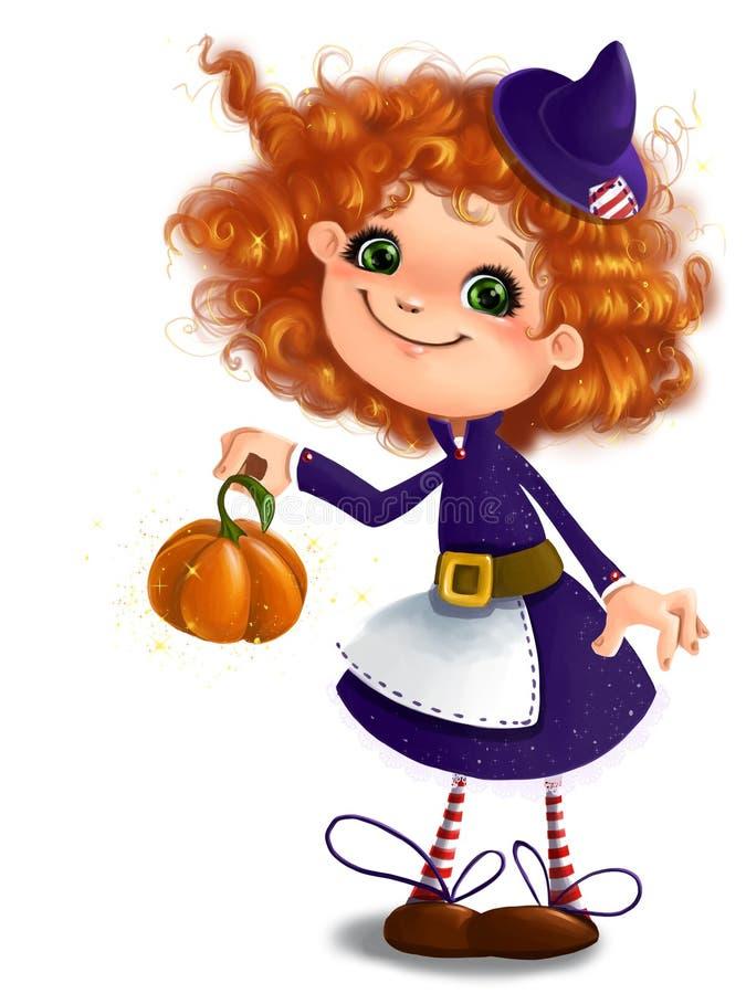 Милая маленькая девочка в костюме ведьмы хеллоуина с предпосылкой стиля шаржа искусства зажима тыквы прозрачной иллюстрация штока