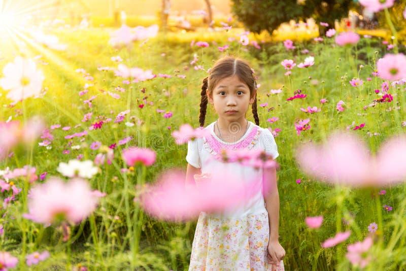 Милая маленькая девочка есть мороженое в поле розовых цветков стоковая фотография