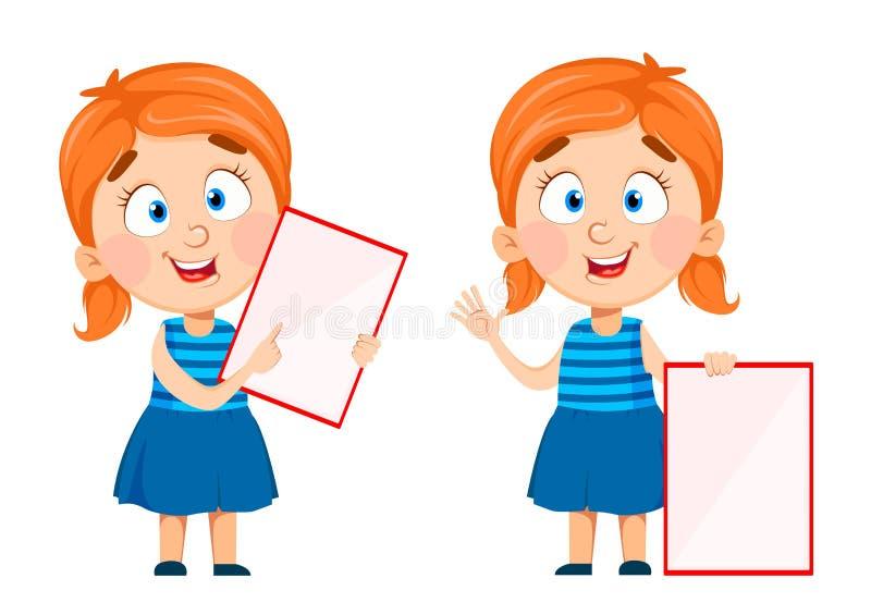 Милая маленькая девочка проводя пустой плакат иллюстрация вектора