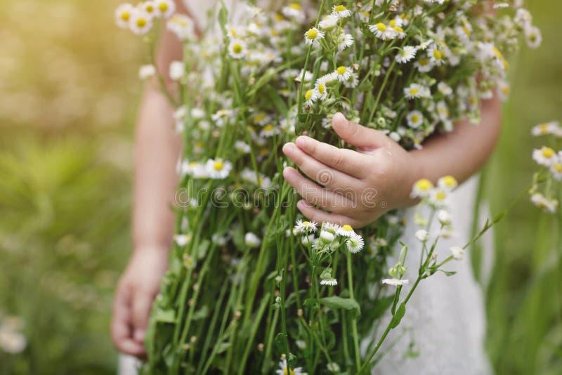 Милая маленькая девочка с букетом стоцветов на предпосылке зеленого поля стоковое изображение rf