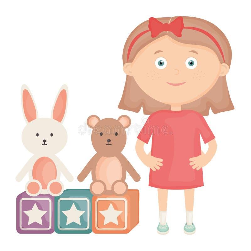 Милая маленькая девочка с игрушечным и кроликом медведя иллюстрация вектора