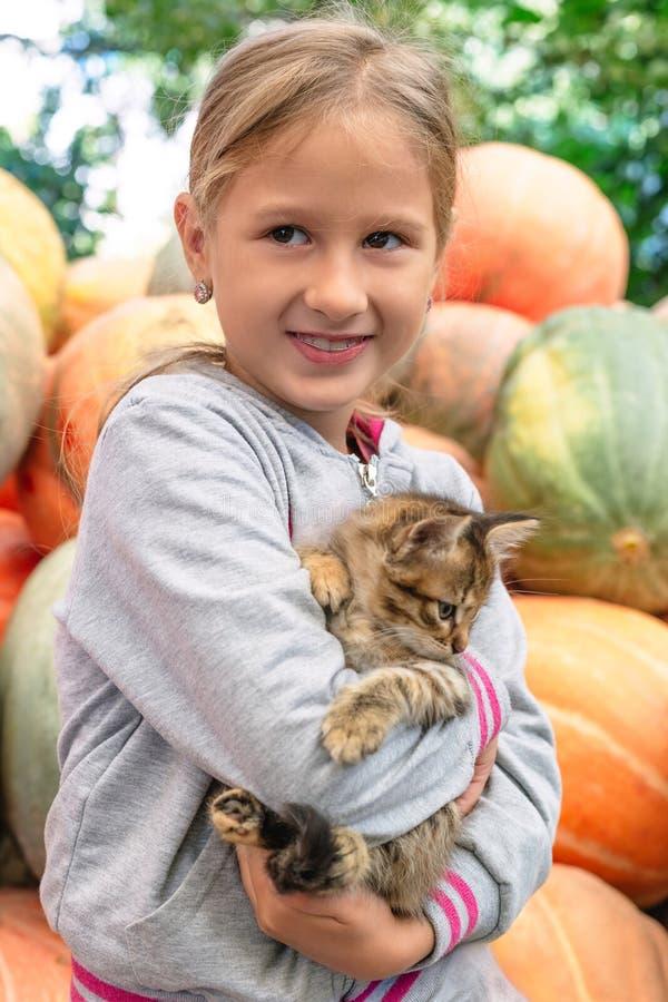 Милая маленькая девочка с котенком стоковые фото