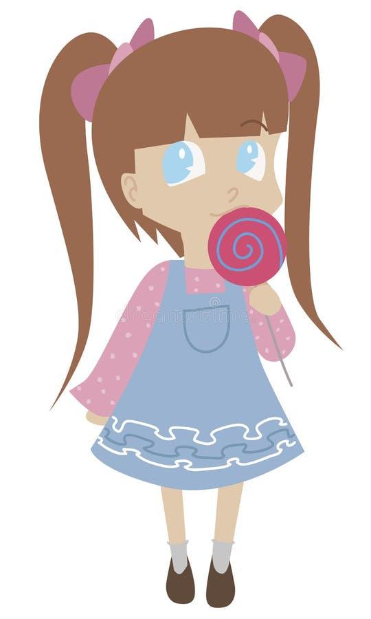 Милая маленькая девушка мультфильма изолированная на белой предпосылке стоковые фотографии rf
