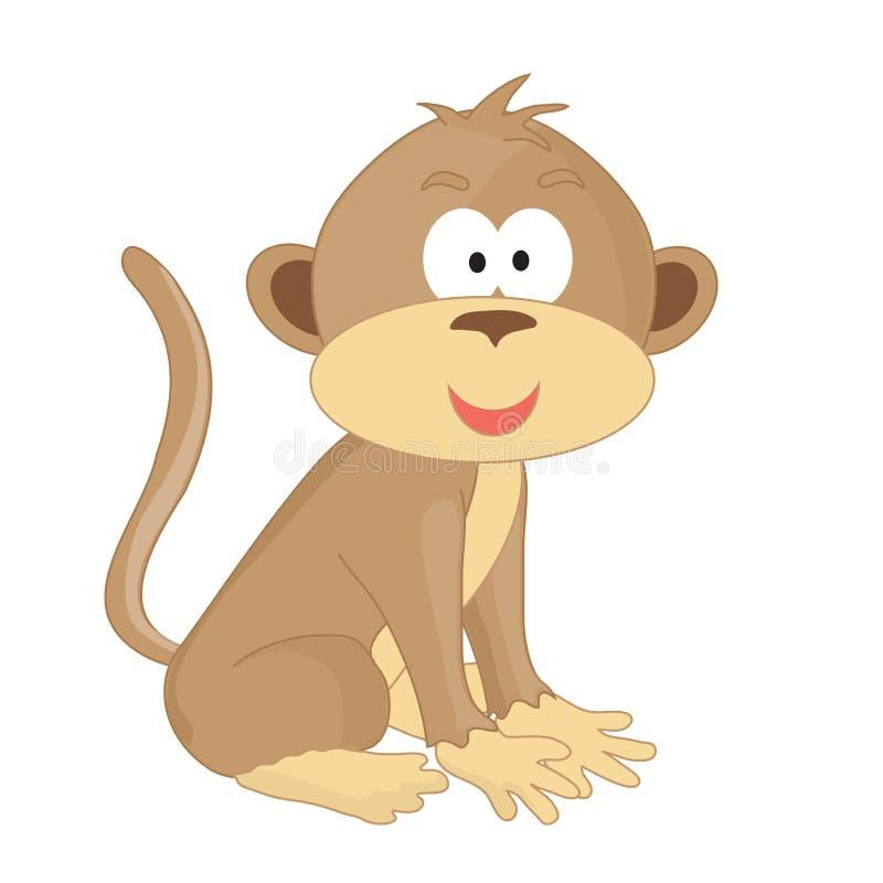 Милая маленькая обезьяна сидит на белой предпосылке иллюстрация штока
