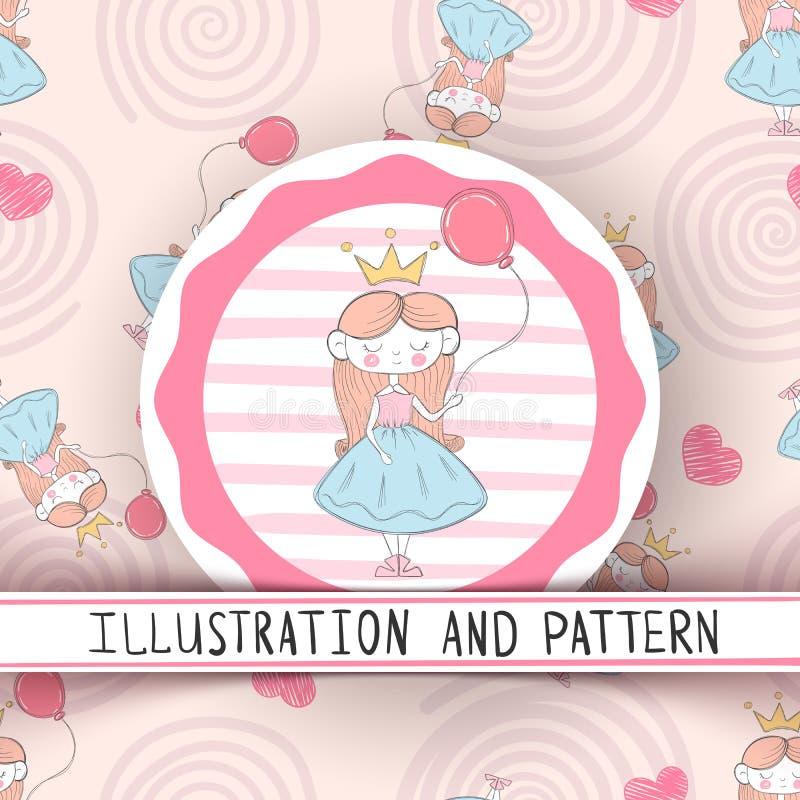 Милая маленькая принцесса - безшовная картина иллюстрация штока
