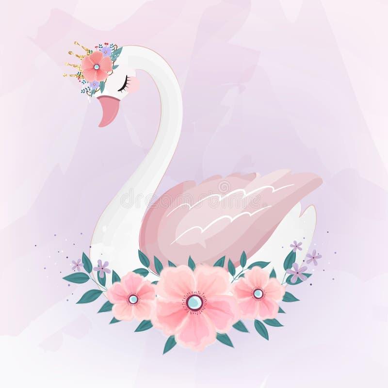 Милая маленькая принцесса Лебедь с букетом цветка стоковое фото