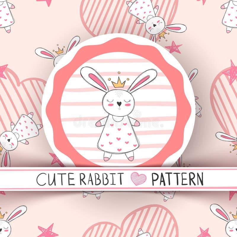 Милая маленькая принцесса - мультфильм кролика иллюстрация вектора