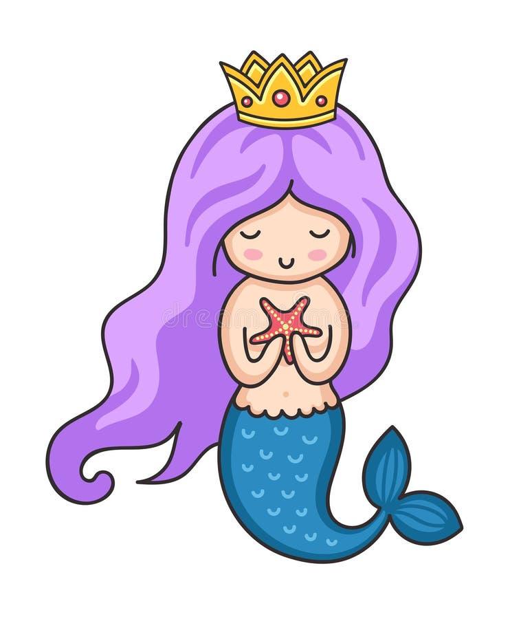 Милая маленькая русалка с морскими звёздами иллюстрация штока