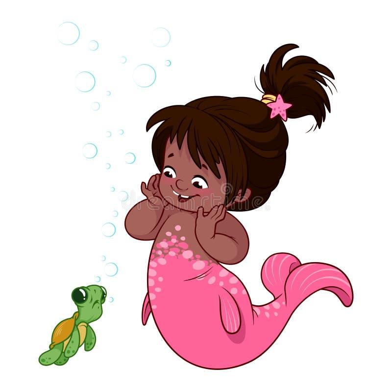 Милая маленькая русалка с смешной черепахой бесплатная иллюстрация