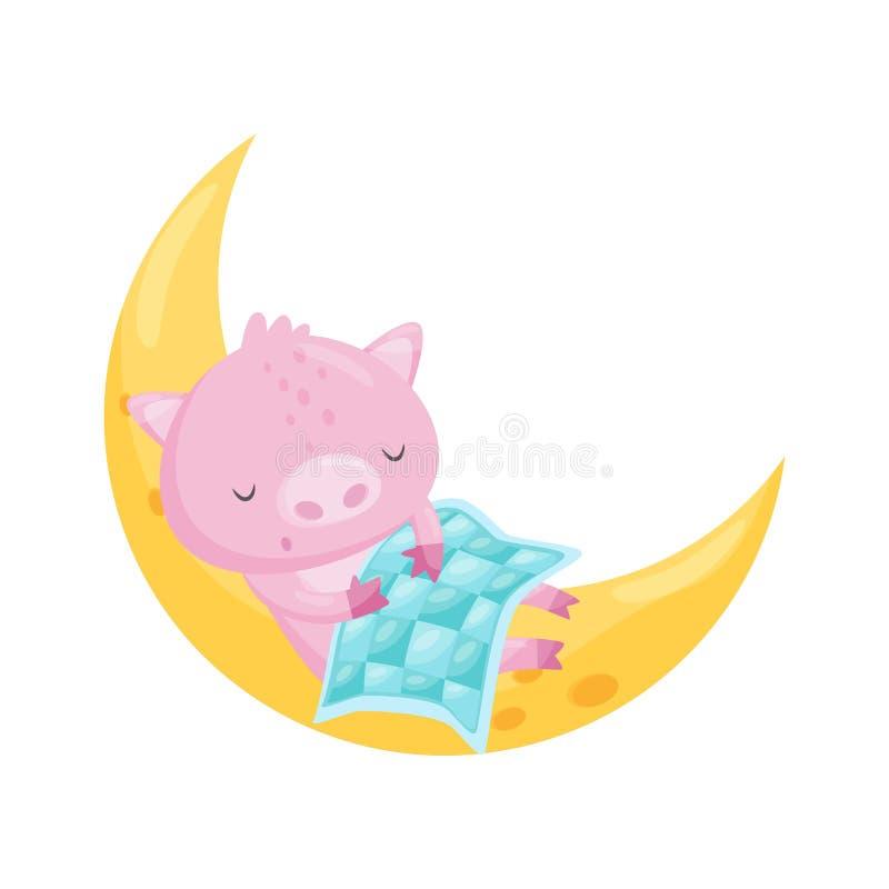 Милая маленькая свинья спать на луне, прекрасный животный персонаж из мультфильма, элемент дизайна спокойной ночи, вектор сладких иллюстрация штока